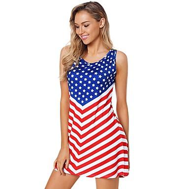 מבוגרים בגדי ריקוד נשים קוספליי דגל אמריקאי שמלות תחפושות קוספליי עבור Halloween לבוש יומיומי כותנה יום העצמאות שמלה