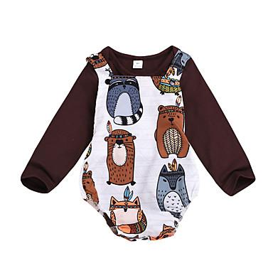 povoljno Odjeća za bebe Za dječake-Dijete Dječaci Aktivan / Kinezerije Print Dugih rukava Regularna Normalne dužine Komplet odjeće Braon