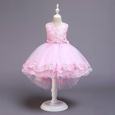 povoljno Haljine za djevojčice-Djeca Djevojčice Aktivan slatko Jednobojni Bez rukávů Asimetričan Haljina Blushing Pink