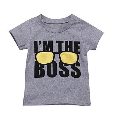 זול חולצות לתינוקות לבנים-טישירט שרוולים קצרים דפוס בנים תִינוֹק