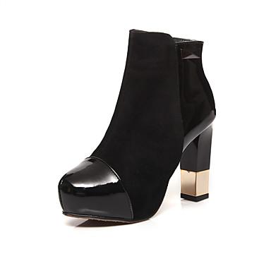 voordelige Dameslaarzen-Dames Laarzen Blokhak Ronde Teen Microvezel Kuitlaarzen Herfst winter Zwart / Feesten & Uitgaan