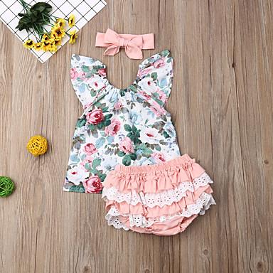 povoljno Kompletići za bebe-Dijete Djevojčice Aktivan / Osnovni Cvjetni print Čipka / Print Bez rukávů Regularna Komplet odjeće Blushing Pink