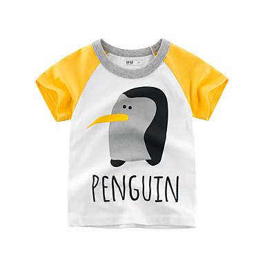 baratos Camisas para Meninos-Infantil Para Meninos Básico Estampado Estampado Manga Curta Algodão Camiseta Bege
