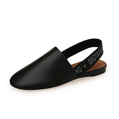 Kadın's Sandaletler Düz Taban PU Tatlı / Minimalizm İlkbahar yaz / Sonbahar Kış Siyah / Beyaz / Kırmzı / Parti ve Gece / Parti ve Gece