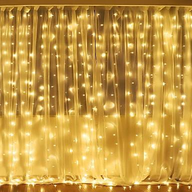 billige LED-stringlys-3mx2m 240led hvit / varm hvit / flerfarget lys romantisk jul bryllup utendørs dekorasjon gardin streng lys