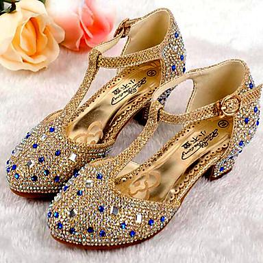 baratos Sapatos de Criança-Para Meninas Sintéticos Saltos Big Kids (7 anos +) Conforto / Salto minúsculos para Adolescentes Gliter com Brilho Dourado / Prata / Rosa claro Primavera