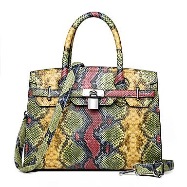 povoljno Odabrane vrećice-Žene Patent-zatvarač PU Torba s ručkom Zmijska koža Red / Blushing Pink / Bijela / Jesen zima