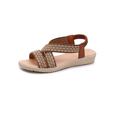 Kadın's Sandaletler Dolgu Topuk Burnu Açık PU Günlük Yürüyüş İlkbahar yaz / Sonbahar Kış Siyah / Kırmzı / Kahverengi
