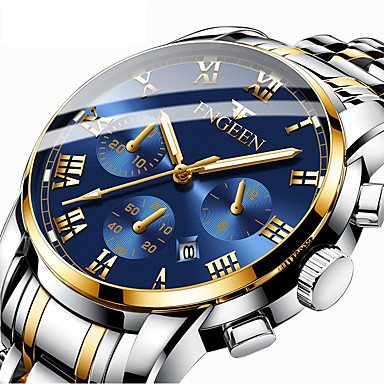 cheap Top Sellers-Men's Dress Watch Quartz Formal Style Modern Style Stainless Steel Black / Silver / Gold 30 m Calendar / date / day Noctilucent Analog Luxury Fashion - Golden+Silver Black / Blue black / gold One