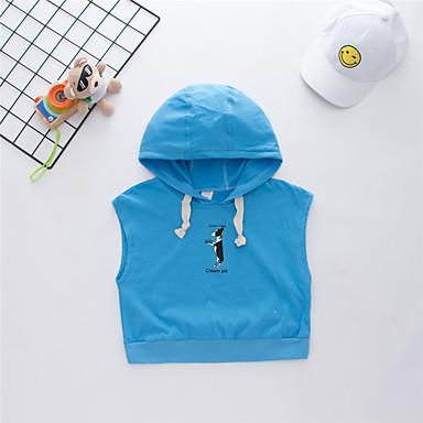baratos Camisas para Meninos-Infantil Para Meninos Básico Estampado Estampado Sem Manga Algodão Camiseta Azul