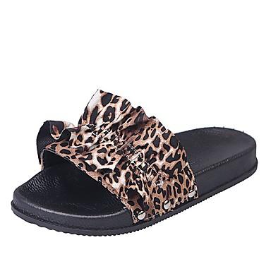 voordelige Damespantoffels & slippers-Dames Slippers & Flip-Flops Platte hak Synthetisch Zomer Zwart / zwart / wit / Luipaard