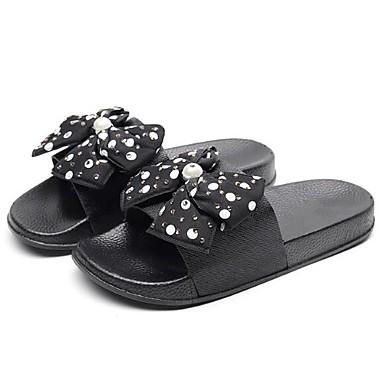 voordelige Damespantoffels & slippers-Dames Slippers & Flip-Flops Platte hak Strik PVC Zomer Zwart / Wit