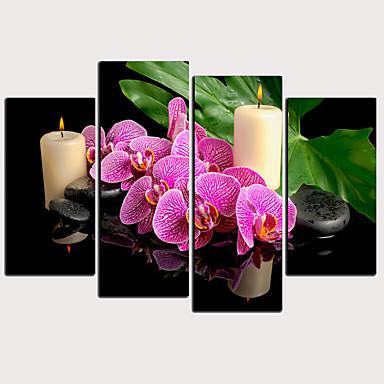 Boyama Haddelenmiş Kanvas Tablolar - Botanik Çiçek / Botanik Klasik Modern Dört Panelli Sanatsal Baskılar