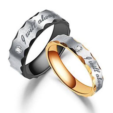 billige Ringer for Par-Par Parringer / Ring 1pc Svart / Rose Gull Rustfritt Stål / Titanium Stål Sirkelformet Unikt design / Grunnleggende / Mote Engasjement / Gave / Love Kostyme smykker
