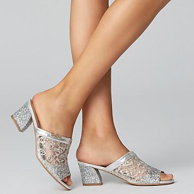 povoljno Ženske cipele-Žene Sandale Kockasta potpetica Okrugli Toe / Peep Toe Šljokice / Pletena ljetna obuca Mikrovlakana Inovativne cipele Proljeće / Ljeto Zlato / Pink / EU40