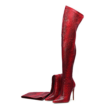 voordelige Dameslaarzen-Dames Laarzen Naaldhak Gepuntte Teen Dierenprint Microvezel Over de knie laarzen Klassiek Herfst winter Groen / Lichtblauw / Paars / Feesten & Uitgaan
