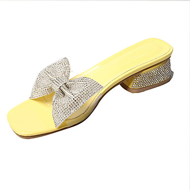 voordelige Damespantoffels & slippers-Dames Slippers & Flip-Flops Comfort schoenen Blok hiel Strik PU Informeel Zomer Wit / Zilver / Geel