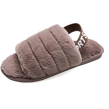 voordelige Damespantoffels & slippers-Dames Slippers & Flip-Flops Platte hak PU Lente & Herfst Zwart / Roze / Grijs