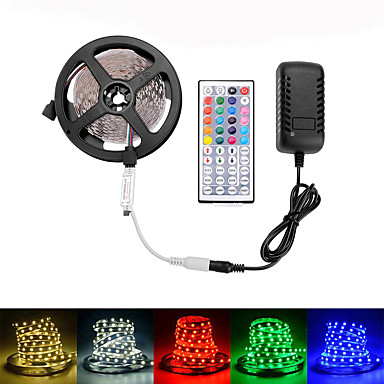 billige LED Strip Lamper-LOENDE 5 m Lyssett 300 LED SMD5050 Varm hvit / RGB / Hvit Fest / Selvklebende / Bryllup 100-240 V 1set