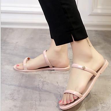 voordelige Damespantoffels & slippers-Dames Slippers & Flip-Flops Platte hak Peep Toe PVC Zomer Zwart / Groen / Roze