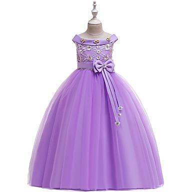 povoljno Odjeća za djevojčice-Djeca Djevojčice Aktivan slatko Jednobojni Čipka Bez rukávů Maxi Haljina Blushing Pink