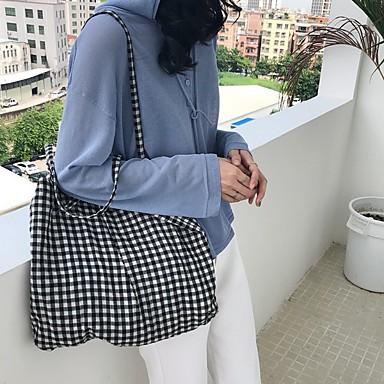 abordables Sacs-Femme Fermeture Coton Cabas Noir / Rouge