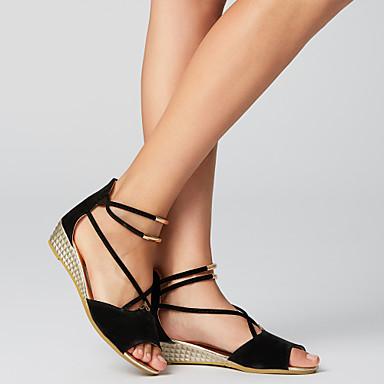 abordables Zapatos de Mujer-Mujer Sandalias Tacón Cuña Cuero Nobuck / Ante Confort Primavera / Verano Beige / Rojo / Azul / EU39
