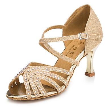 baratos Sapatos de Salsa-Mulheres Sapatos de Dança Sintéticos Sapatos de Dança Latina Pedrarias Salto Calcanhar Transparente Banhado a Ouro Personalizável Dourado / Espetáculo / Couro