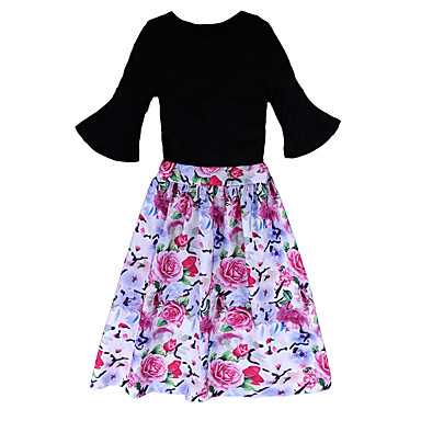 povoljno Kompletići za djevojčice-Djeca Djevojčice Osnovni Cvjetni print Rukava do lakta Poliester Komplet odjeće Crn