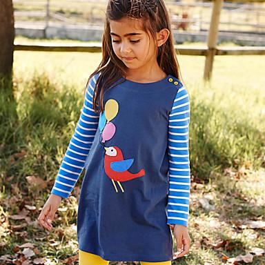 povoljno Haljine za djevojčice-Djeca Dijete koje je tek prohodalo Djevojčice Osnovni Slatka Style Prugasti uzorak Životinja Print Dugih rukava Iznad koljena Pamuk Haljina Plava