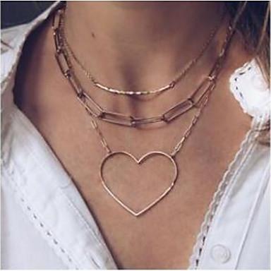 billige Mote Halskjede-Dame lagdelte Hals Hjerte Romantikk Avslappet / Sportslig Chrome Gull 45 cm Halskjeder Smykker 1pc Til Gate Klubb