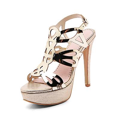 Kadın's Sandaletler Stiletto Topuk Açık Uçlu PU Klasik / İngiliz Yaz Siyah / Altın / Gümüş / Parti ve Gece