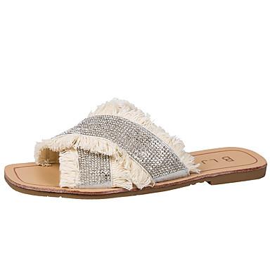 voordelige Damespantoffels & slippers-Dames Slippers & Flip-Flops Slippers Platte hak Open teen PU Informeel Zomer Zwart / Beige