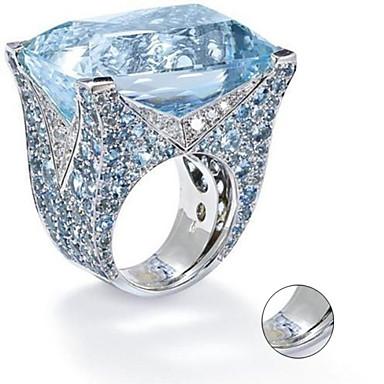 billige Tilpassede smykker-personlig tilpasset Blå Kubisk Zirkonium Ring Klassisk Gave Love Festival Geometrisk Form 1pcs Sølv
