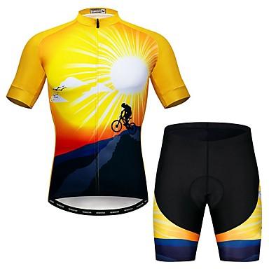 WEIMOSTAR Erkek Kısa Kollu Şortlu Bisiklet Forması Siyah / Sarı Yenilik Bisiklet Giysi Takımları Nefes Alabilir Hızlı Kuruma Spor Dalları Elastane Yenilik Dağ Bisikletçiliği Yol Bisikletçiliği Giyim