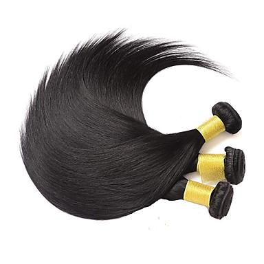 baratos Extensões de Cabelo Natural-3 pacotes Cabelo Brasileiro Liso Cabelo Humano 100% Remy Hair Weave Bundles Peça para Cabeça Cabelo Humano Ondulado Extensor 8-28 inch Côr Natural Tramas de cabelo humano Segurança Fantasias Vestir