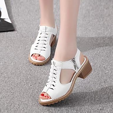 Kadın's Sandaletler Kalın Topuk Burnu Açık PU Klasik Yürüyüş İlkbahar yaz / Sonbahar Kış Siyah / Beyaz / Bej