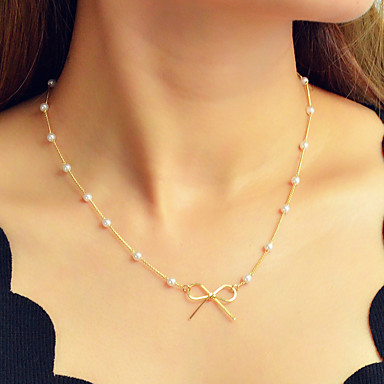 614830466b8 Women's Chain Necklace Geometrical Bowknot Dainty Sweet Fashion Elegant  Imitation Pearl Chrome Gold 44 cm Necklace Jewelry 1pc For Daily Work  Festival