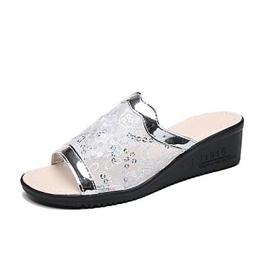 voordelige Damespantoffels & slippers-Dames Slippers & Flip-Flops Sleehak PU Klassiek / minimalisme Zomer / Lente zomer Goud / Zilver / Feesten & Uitgaan