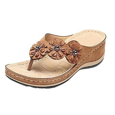 voordelige Damespantoffels & slippers-Dames Slippers & Flip-Flops Sleehak Imitatieleer Zomer Rood / Blauw / Roze
