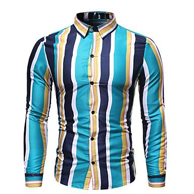 Erkek Pamuklu Klasik Yaka Gömlek Desen, Çizgili / Grafik Temel / Sokak Şıklığı AB / ABD Beden Havuz / Uzun Kollu