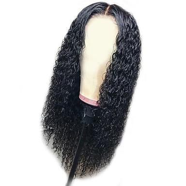 Sentetik Peruklar Afro Kinky Stil Katmanlı Saç Kesimi Bonesiz Peruk Siyah Siyah Sentetik Saç 58~62 inç Kadın's Yeni gelen Siyah Peruk Çok uzun Doğal Peruk