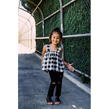 levne Sady oblečení-Toddler Dívčí Aktivní Sofistikované Kostičky Krajka Volná záda Ripped Bez rukávů Standardní Bavlna Polyester Sady oblečení Černá