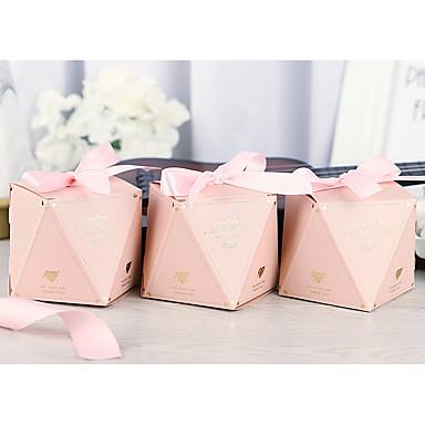 abordables Support de Cadeaux pour Invités-Irrégulier Papier durci Titulaire de Faveur avec Ruban Boîtes Cadeaux / Emballages à Biscuits - 50 Pièces