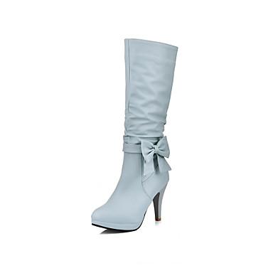 povoljno Ženske čizme-Žene Čizme Stožasta potpetica Okrugli Toe PU Čizme do pola lista slatko Jesen zima Crn / Plava / Pink