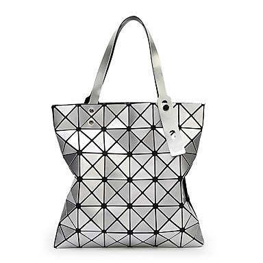 hesapli Çantalar-Kadın's Parıltı / Fermuar Tote PU Geometrik Desenli Siyah / Gümüş / Doğal Pembe