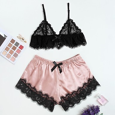 bddadb8750 abordables Lingerie Sexy Femme-Femme Satin & Soie / Costumes Vêtement  de nuit Dentelle