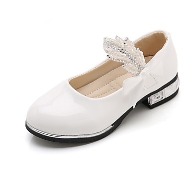 baratos Sapatos de Criança-Para Meninas Couro Sintético Saltos Little Kids (4-7 anos) / Big Kids (7 anos +) Sapatos para Daminhas de Honra / Salto minúsculos para Adolescentes Laço / Gliter com Brilho Branco / Preto / Rosa