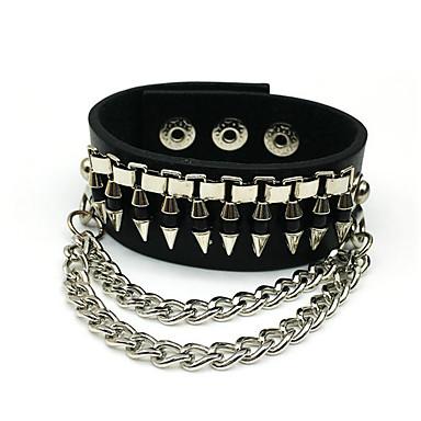 voordelige Herensieraden-Heren Lederen armbanden Klassiek Bullet Statement Rock Stevig Leder Armband sieraden Zwart / Bruin Voor Carnaval Straat