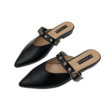 Kadın's Terlikler ve Sandaletler Düz Taban Sivri Uçlu PU Günlük Bahar Siyah / Gri